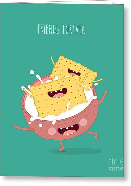 Funny A Cookies Swimming In A Cup With Greeting Card by Serbinka