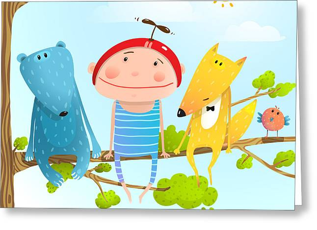 Funny Animals And Boy Friends Sitting Greeting Card