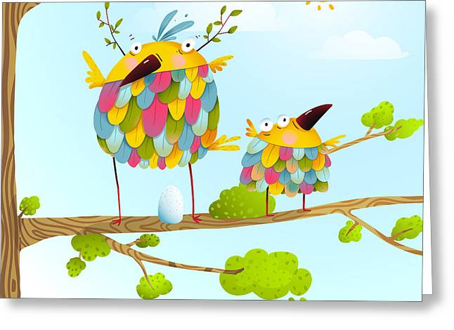 Funny Bird On Tree Family Mother And Greeting Card