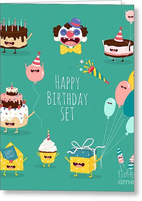 Funny Birthday Set. Birthday Cake Greeting Card