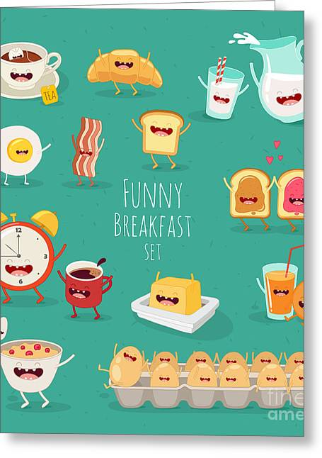 Funny Breakfast Set. Comic Characters Greeting Card