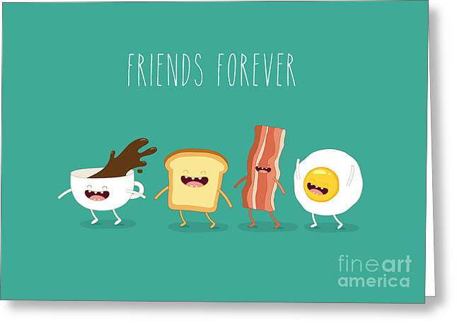 Funny Breakfast. Up Of Coffee, Egg Greeting Card