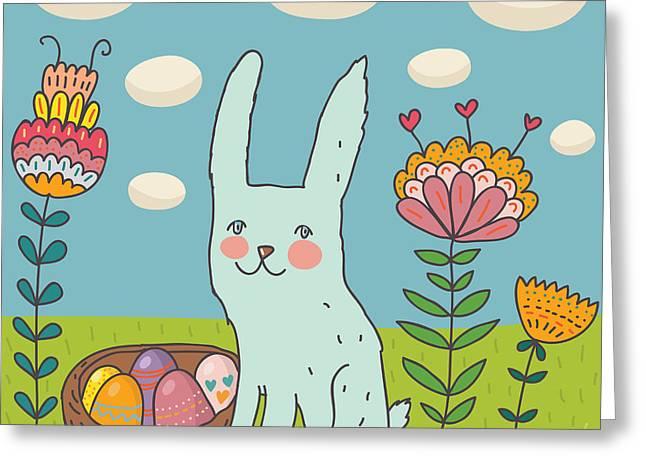 Funny Cartoon Easter Rabbit Greeting Card