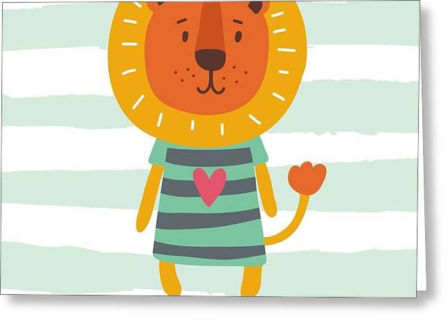 Funny Cartoon Lion Vector Print Greeting Card