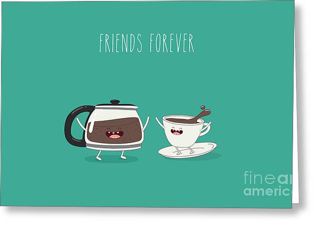 Funny Cup Of Coffee And Funny Coffee Greeting Card