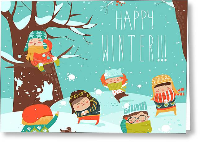 Funny Kids Playing Snowball Fight Greeting Card