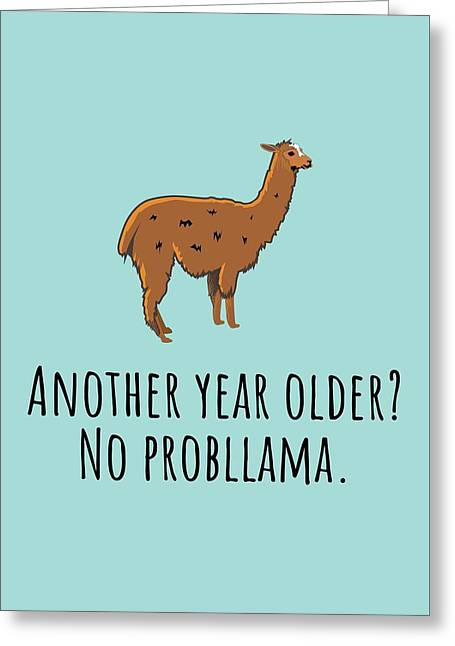 Funny Llama Card - Llama Birthday Card - Llama Lover Card - Llama Greeting Card - No Probllama Greeting Card