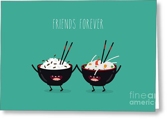Funny Rice Noodles And Rice In Black Greeting Card