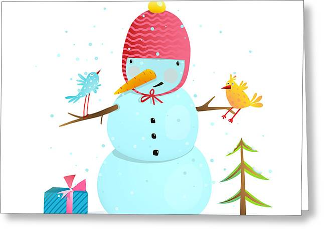 Funny Snowman With Birds Present And Greeting Card