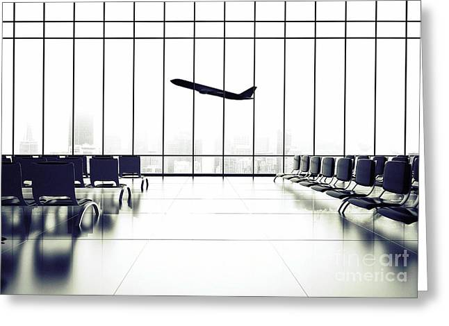 Futuristic Airport And Big Airliner In Greeting Card