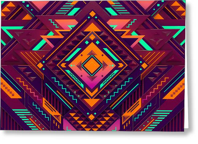 Futuristic Colorful Pattern. Triangles Greeting Card