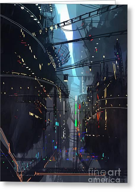 Futuristic Floating City,landscape Greeting Card