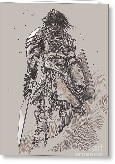 Futuristic Knight With Greeting Card