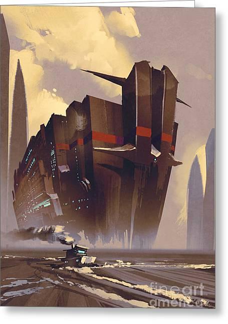 Futuristic Ocean Liner,sci-fi Greeting Card