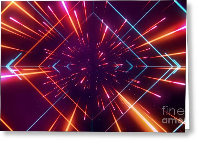 Futuristic Space Tunnel Greeting Card