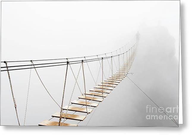 Fuzzy Man Walking On Hanging Bridge Greeting Card