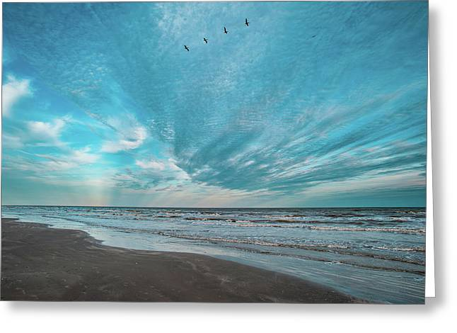 Greeting Card featuring the photograph Galveston Island First Light by Jeff Phillippi