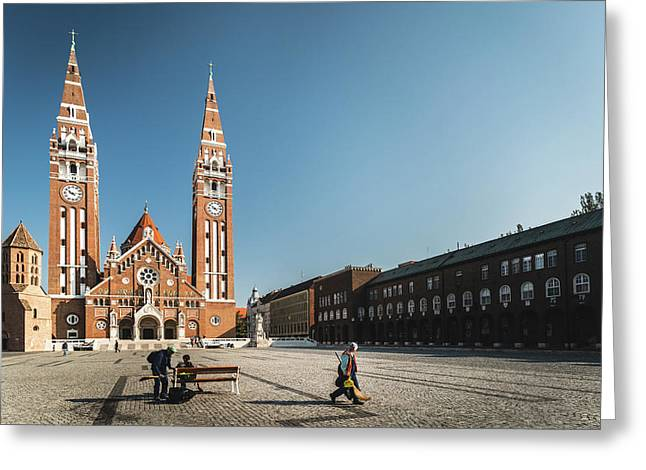 Garbage Cleaners On Dom Square In Szeged  Greeting Card