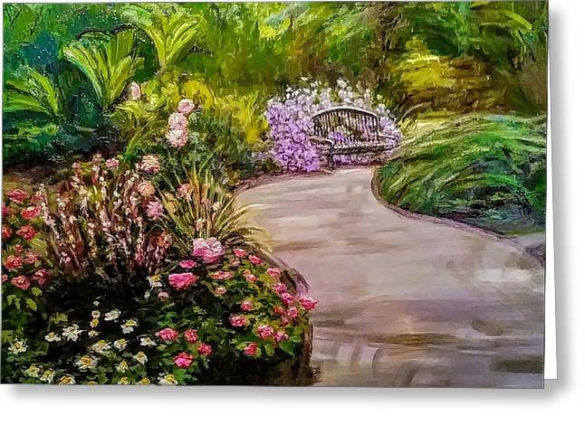 Path To The Garden Bench At Evergreen Arboretum Greeting Card