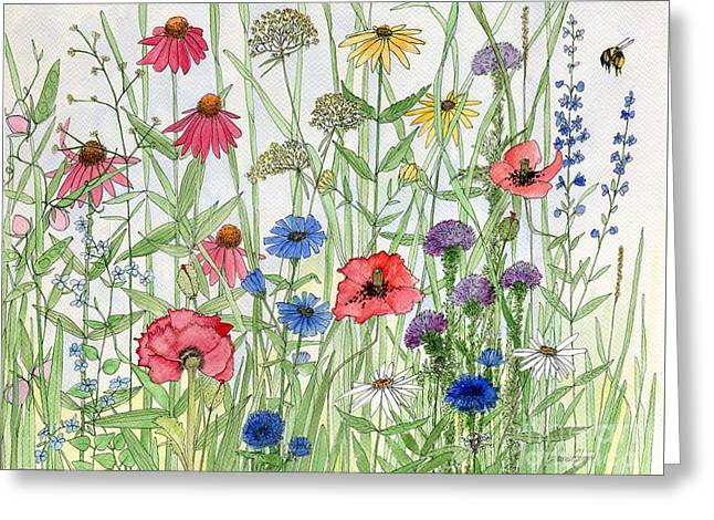 Garden Flower Medley Watercolor Greeting Card