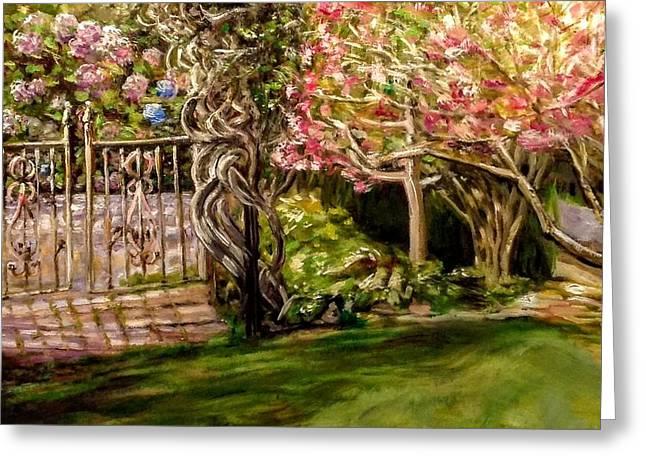 Garden Gate At Evergreen Arboretum Greeting Card