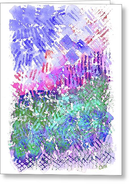 Garden Of Purple And Green Greeting Card