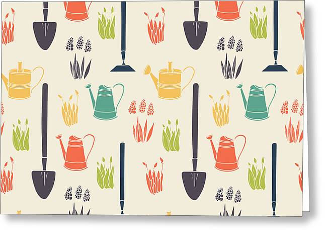 Garden Seamless Pattern Greeting Card by Tashanatasha