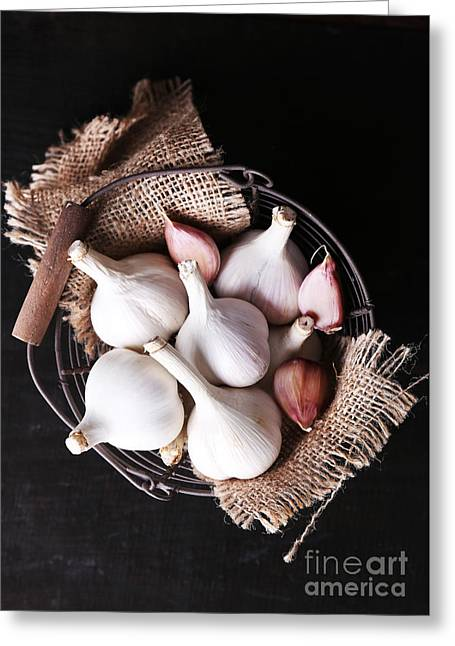 Garlic In Basket On Black Wooden Greeting Card