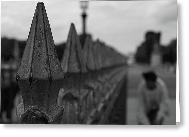Greeting Card featuring the photograph Gate, Person by Edward Lee