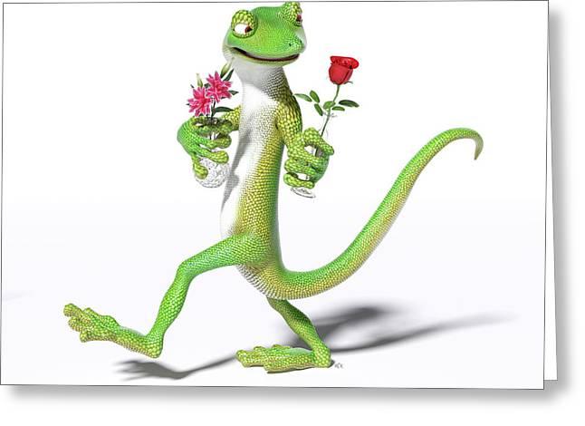 Gecko In Love Greeting Card