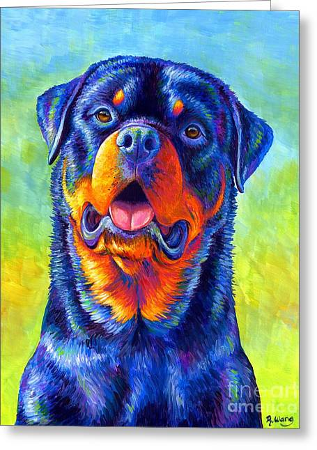 Gentle Guardian Colorful Rottweiler Dog Greeting Card