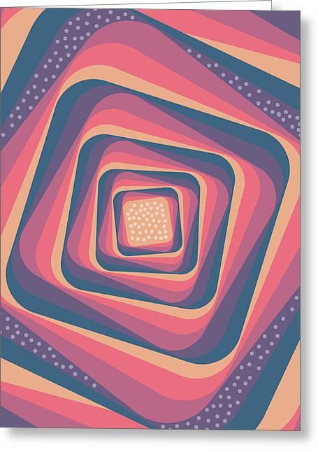 Geometric Abstract Pattern - Retro Pattern - Spiral 2 - Deep Blue, Purple, Magenta, Red Greeting Card