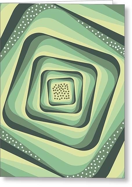 Geometric Abstract Pattern - Retro Pattern - Spiral 3 - Grey, Cream, Teal, Slate Greeting Card