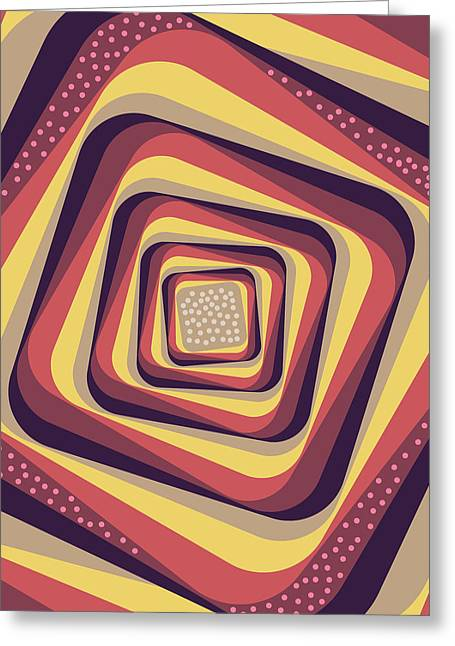 Geometric Abstract Pattern - Retro Pattern - Spiral 4 - Violet, Magenta, Yellow, Beige Greeting Card