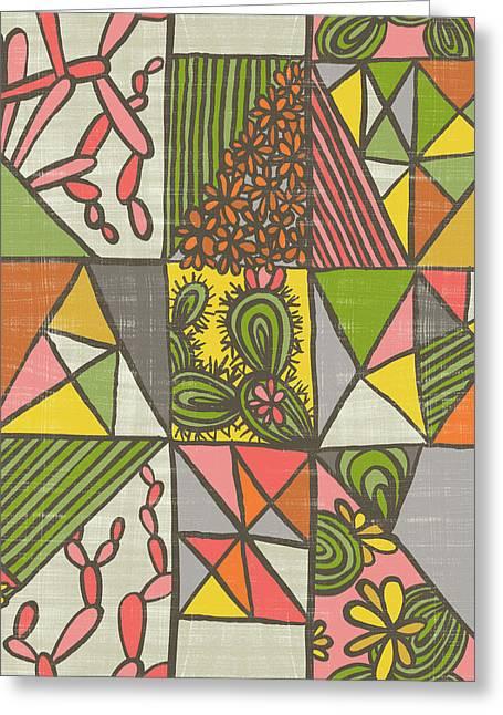 Geometric Flowering Cacti Greeting Card