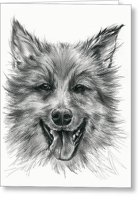 Greeting Card featuring the drawing German Shepherd Smile by MM Anderson