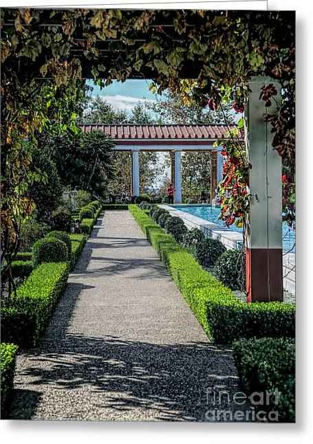 Getty Villa Pathway California  Greeting Card