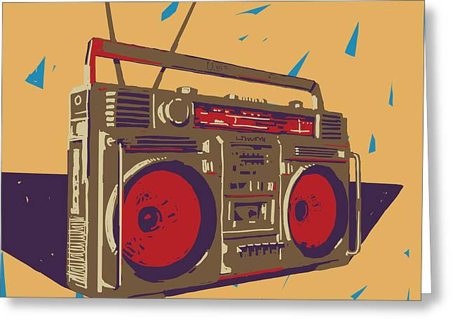 Ghetto Blaster Boombox Graphic Greeting Card by Iz Stock Works