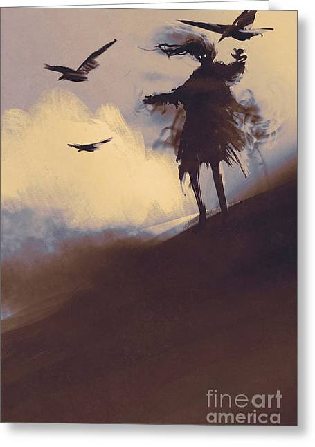 Ghost With Flying Crows In The Greeting Card