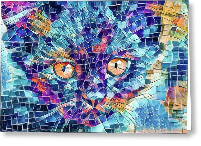 Greeting Card featuring the digital art Giant Head Mosaic Colorful by Don Northup