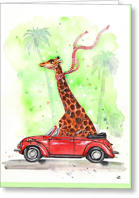 Giraffe In A Beetle Greeting Card