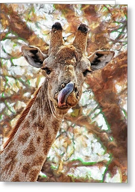 Giraffe Says Yum Greeting Card