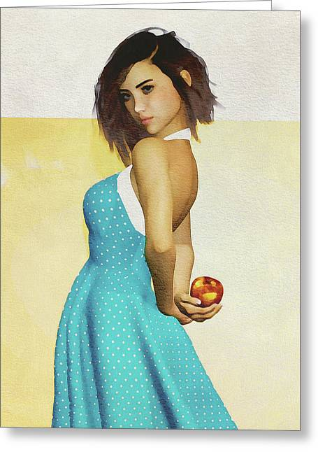 Greeting Card featuring the digital art Girl Holding An Apple by Jan Keteleer