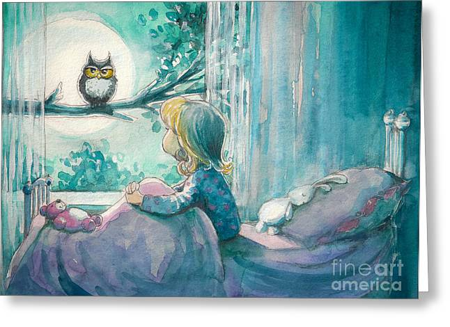 Girl In Her Bed Looking At Owl On A Greeting Card