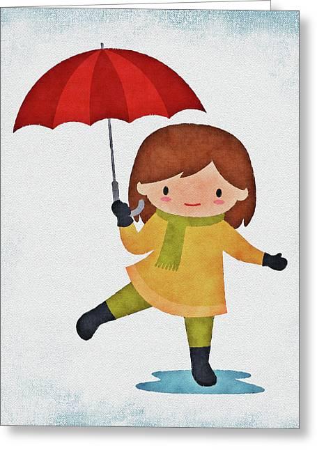Girl In The Rain Greeting Card