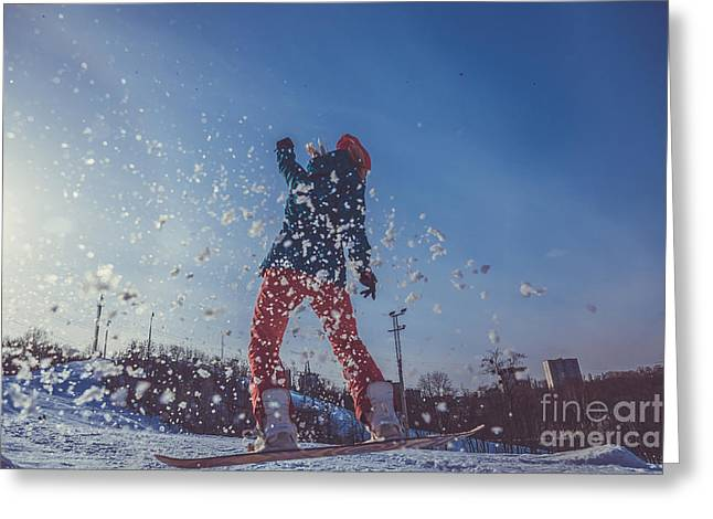 Girl Learning To Ride A Snowboard Greeting Card