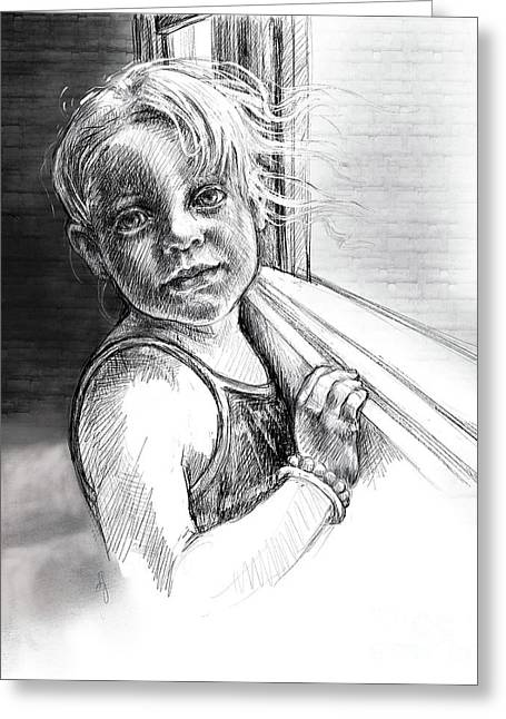 Greeting Card featuring the drawing Girl With A Beaded Bracelet by Lora Serra