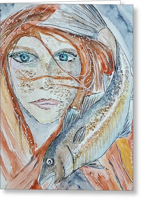 Girl With Cod Greeting Card