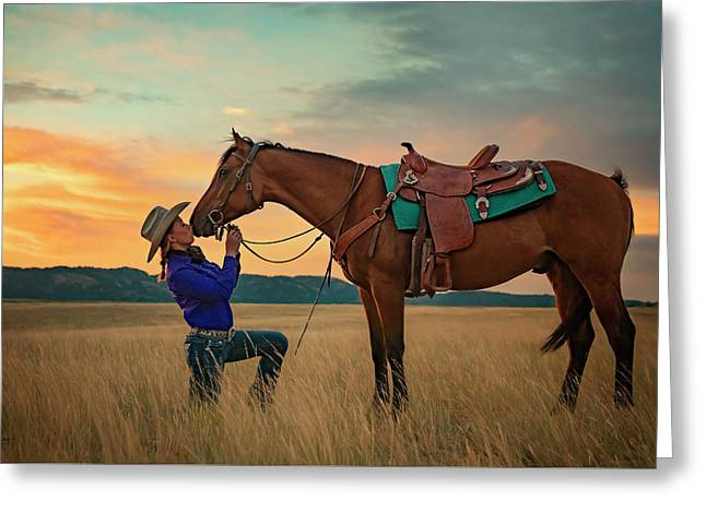 Girls And Horses Greeting Card