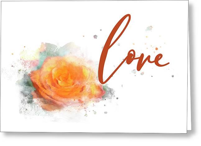 Girly Wall Art, Burnt Orange Rose Love Watercolor Greeting Card